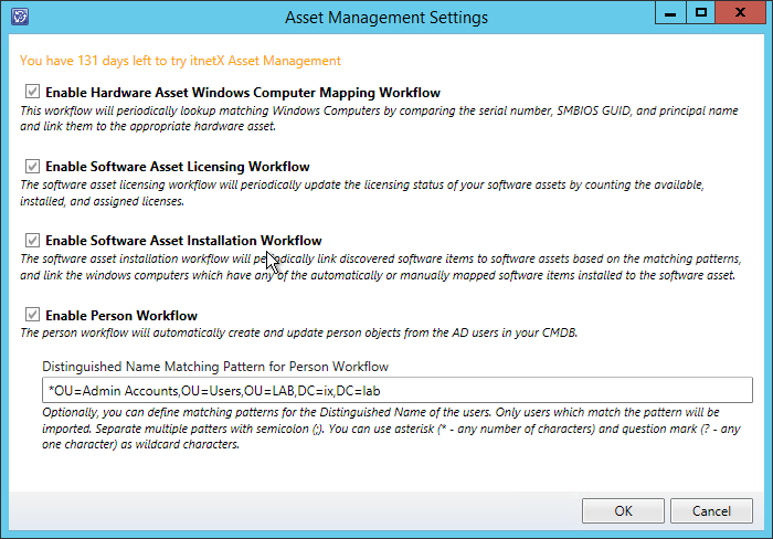 Asset Management für SCSM Settingsseite
