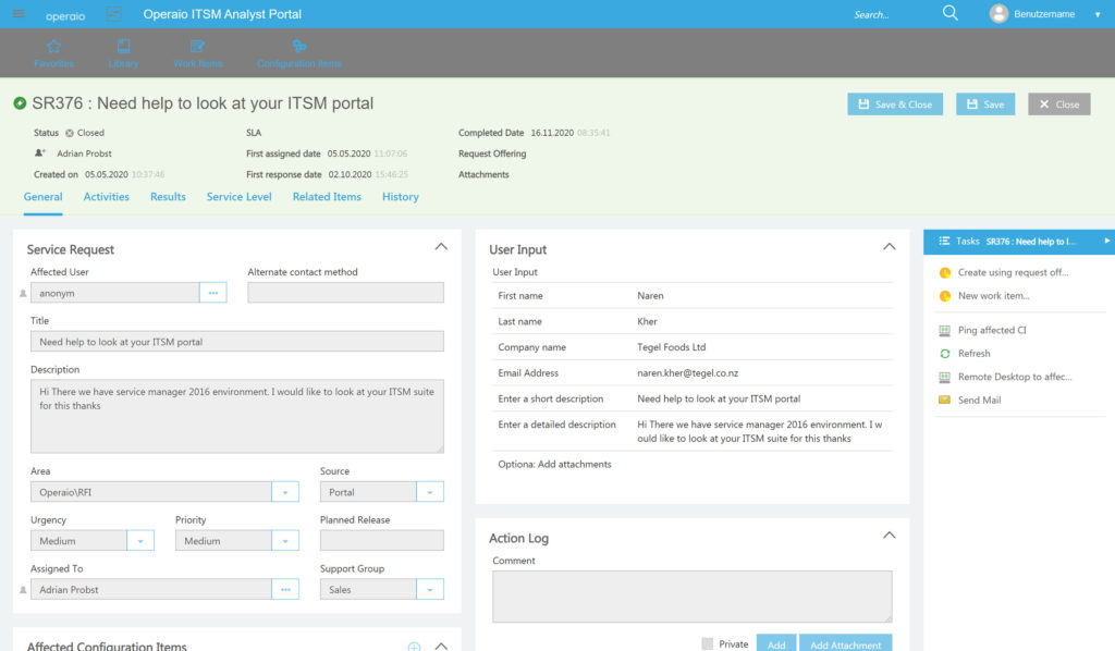 """Ansicht eines """"closed requests"""" im Operaio Web Portal für SCSM."""