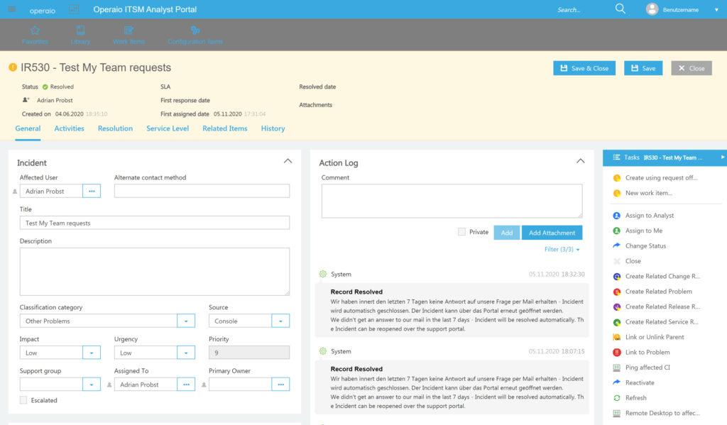 Ansicht eines Open Requests im Operaio Web Portal für den System Center Service Manager.